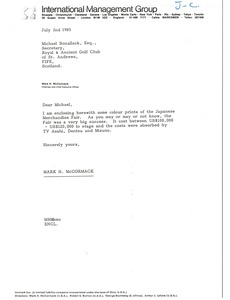 Thumbnail of Letter from Mark H. McCormack to Michael Bonallack