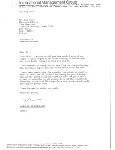 Thumbnail of Letter from Mark H. McCormack to Ray Cave