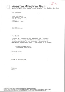 Thumbnail of Letter from Mark H. McCormack to David Hill