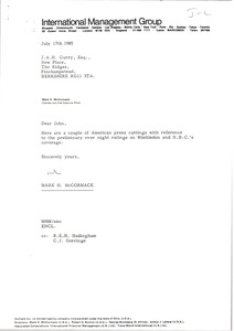 Thumbnail of Letter from Mark H. McCormack to J. A. H. Curry