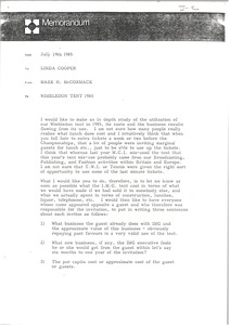 Thumbnail of Memorandum from Mark H. McCormack to Linda Cooper