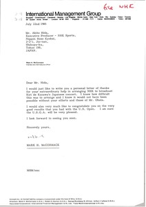 Thumbnail of Letter from Mark H. McCormack to Akito Hida