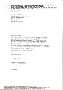 Thumbnail of Letter from Mark H. McCormack to Masami Obata