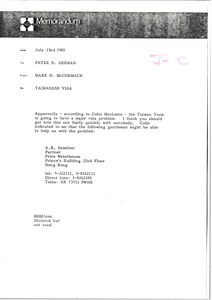 Thumbnail of Memorandum from Mark H. McCormack to Peter D. German