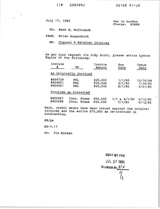Thumbnail of Fax from Brian Roggenburk to Mark H. McCormack