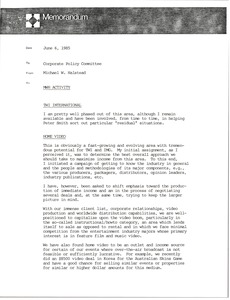 Thumbnail of Memorandum from Michael W. Halstead to corporate policy committee