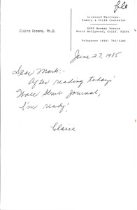 Thumbnail of Letter from Claire Greene to Mark H. McCormack