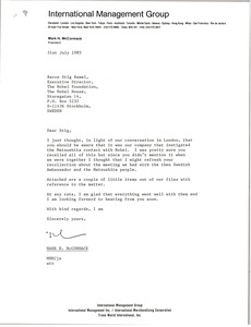 Thumbnail of Letter from Mark H. McCormack to Stig Ramel