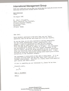 Thumbnail of Letter from Mark H. McCormack to John K. O'Loughlin