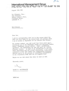 Thumbnail of Letter from Mark H. McCormack to Ian Chapman