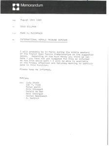 Thumbnail of Memorandum from Mark H. McCormack to Doug Billman