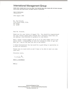 Thumbnail of Letter from Mark H. McCormack to Tim Polacek