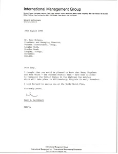 Thumbnail of Letter from Mark H. McCormack to Tony McCann