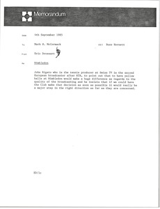 Thumbnail of Memorandum from Eric Drossart to Mark H. McCormack