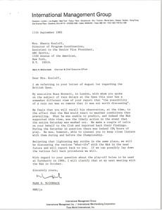 Thumbnail of Letter from Mark H. McCormack to Sherry Kozloff