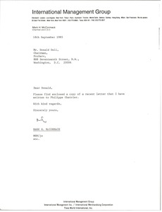Thumbnail of Letter from Mark H. McCormack to Donald Dell
