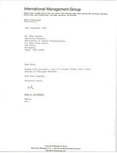 Thumbnail of Letter from Mark H. McCormack to Mike Davies