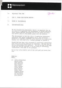 Thumbnail of Memorandum from Mark H. McCormack to Ian Todd and Peter Worth