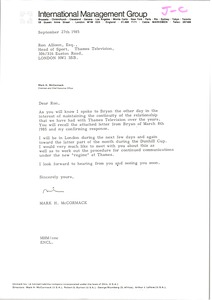 Thumbnail of Letter from Mark H. McCormack to Ron Allison
