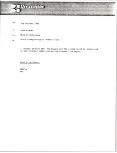 Thumbnail of Memorandum from Mark H. McCormack to Hans Kramer