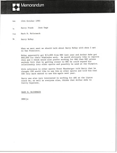 Thumbnail of Memorandum from Mark H. McCormack to Barry Frank and Jean Sage