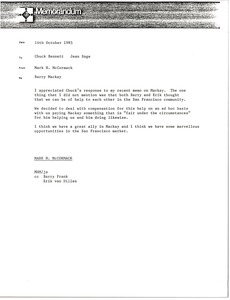 Thumbnail of Memorandum from Mark H. McCormack to Chuck Bennett and Jean Sage