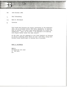 Thumbnail of Memorandum from Mark H. McCormack to Saul Schoenberg