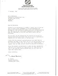 Thumbnail of Letter from Keith McEwen to Mark H. McCormack