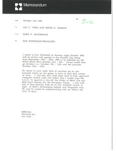 Thumbnail of Memorandum from Mark H. McCormack to Ian T. Todd and Peter D. German