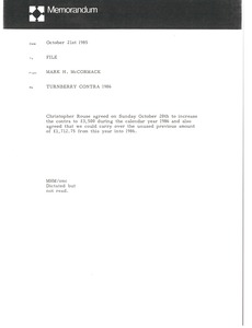 Thumbnail of Memorandum from Mark H. McCormack to file