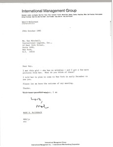 Thumbnail of Letter from Mark H. McCormack to Kay Mitchell