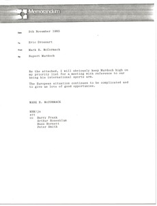 Thumbnail of Memorandum from Mark H. McCormack to Eric Drossart