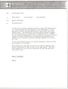 Thumbnail of Memorandum from Mark H. McCormack to Jan Steinman