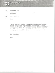 Thumbnail of Memorandum from Mark H. McCormack to Bud Stanner