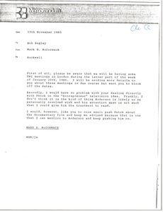 Thumbnail of Memorandum from Mark H. McCormack to Bob Bagley
