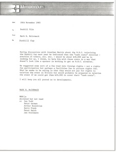Thumbnail of Memorandum from Mark H. McCormack concerning the Dunhill Cup