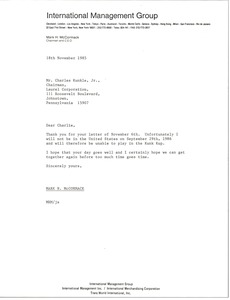 Thumbnail of Letter from Mark H. McCormack to Charles Kunkle
