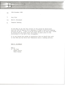 Thumbnail of Memorandum from Mark H. McCormack concerning computer rankings