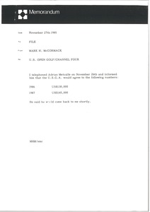 Thumbnail of Memorandum from Mark H. McCormack concerning the U. S. Open