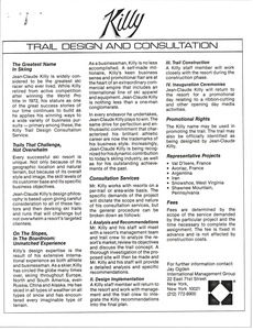 Thumbnail of Jean Claude Killy trail and design consultation business advertisement