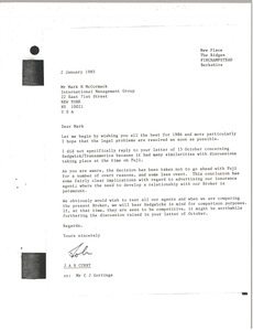 Thumbnail of Letter from John Curry to Mark H. McCormack