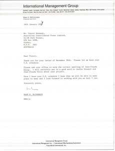 Thumbnail of Letter from Mark H. McCormack to Trevor Kennedy