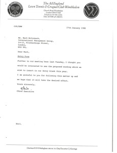 Thumbnail of Letter from Chris Gorringe to Mark H. McCormack