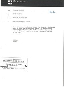 Thumbnail of Memorandum from Mark H. McCormack to John Simpson