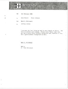 Thumbnail of Memorandum from Mark H. McCormack to Alan Morell and Peter Johnson
