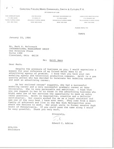 Thumbnail of Letter from Edward C. Adkins to Mark H. McCormack