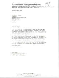 Thumbnail of Letter from Judy Stott to Doris Bigio