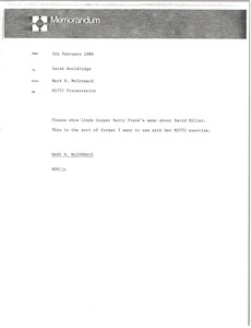 Thumbnail of Memorandum from Mark H. McCormack to Sarah Wooldridge