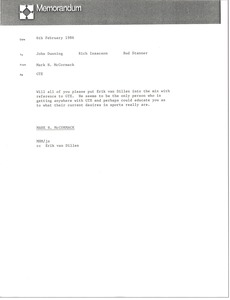 Thumbnail of Memorandum from Mark H. McCormack to John Dunning, Rick Isaacson and Bud Stanner