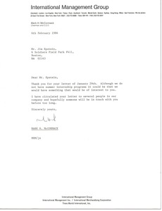 Thumbnail of Letter from Mark H. McCormack to Jim Epstein